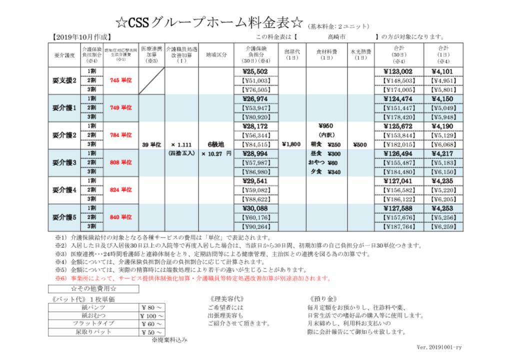 料金表(R1.10改定6級地2ユニット)のサムネイル